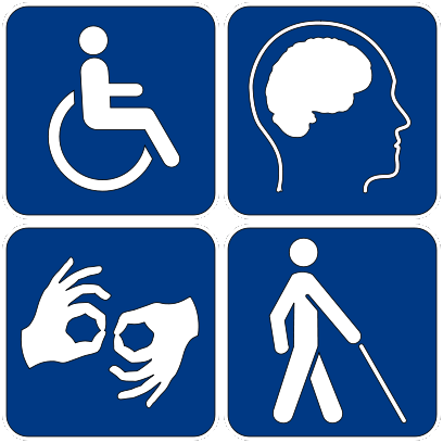Accessibility signs, showing symbos for a wheelchair, autism, low vision, and sign language