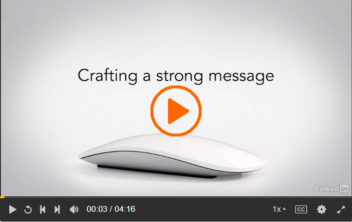 Screenshot of the Lynda.com video Crafting a strong message