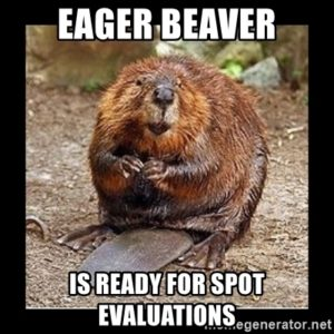 Meme showing a beaver with the caption, Eager Beaver is ready for SPOT evaluations