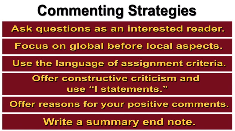 Screenshot from the Peer Review:Commenting Strategies video