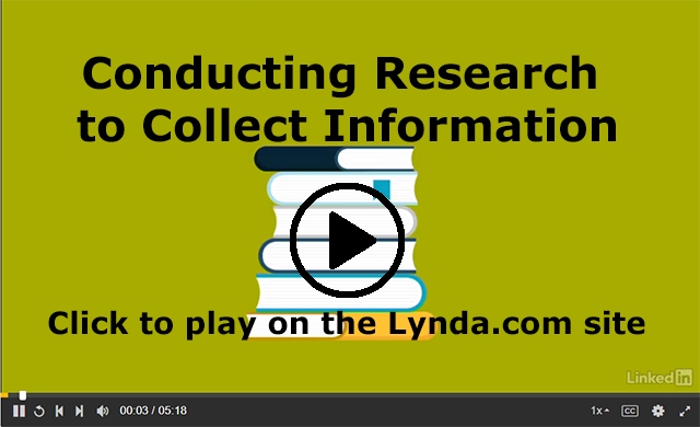 Screenshot from the Lynda.com course Conduct Research to Collect Information
